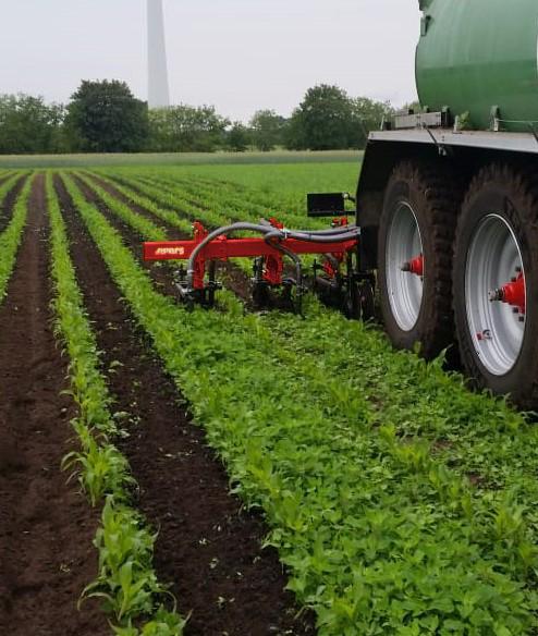 Kombi Kack-Injektor: Düngen und Hacken von Maisland in einem Arbeitsgang